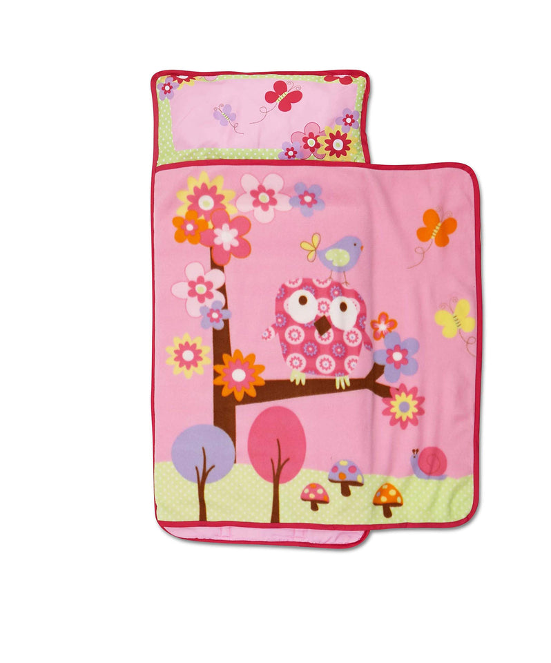 Funhouse Woodland Kids Nap Mat Set – Includes Pillow and Fleece Blanket – Cute Owl Design - Great for Girls Napping during Daycare, Preschool, or Kindergarten - Fits Toddlers and Young Children