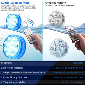 SyndeRay Magnet Submersible LED Lights with Suction Cups,IP68 Waterproof Bathtub Light with RF Remote,13 Color Changing LED Lights for Shower,SPA,Hot Tub,Party (4) 4