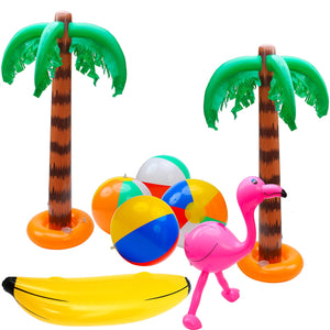 Elcoho 8 Pack Inflatable Palm Trees Flamingos Toys Inflatable Banana Beach Balls for Hawaii Party Décor Luau Party Backdrop (Party Decoration A)