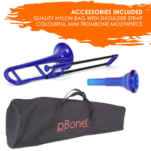 pInstrument Plastic Kids pBone Mini Trombone - Mouthpiece and Carrying Bag- Eb Authentic Sound for Student & Beginner- Durable ABS Construction- Blue