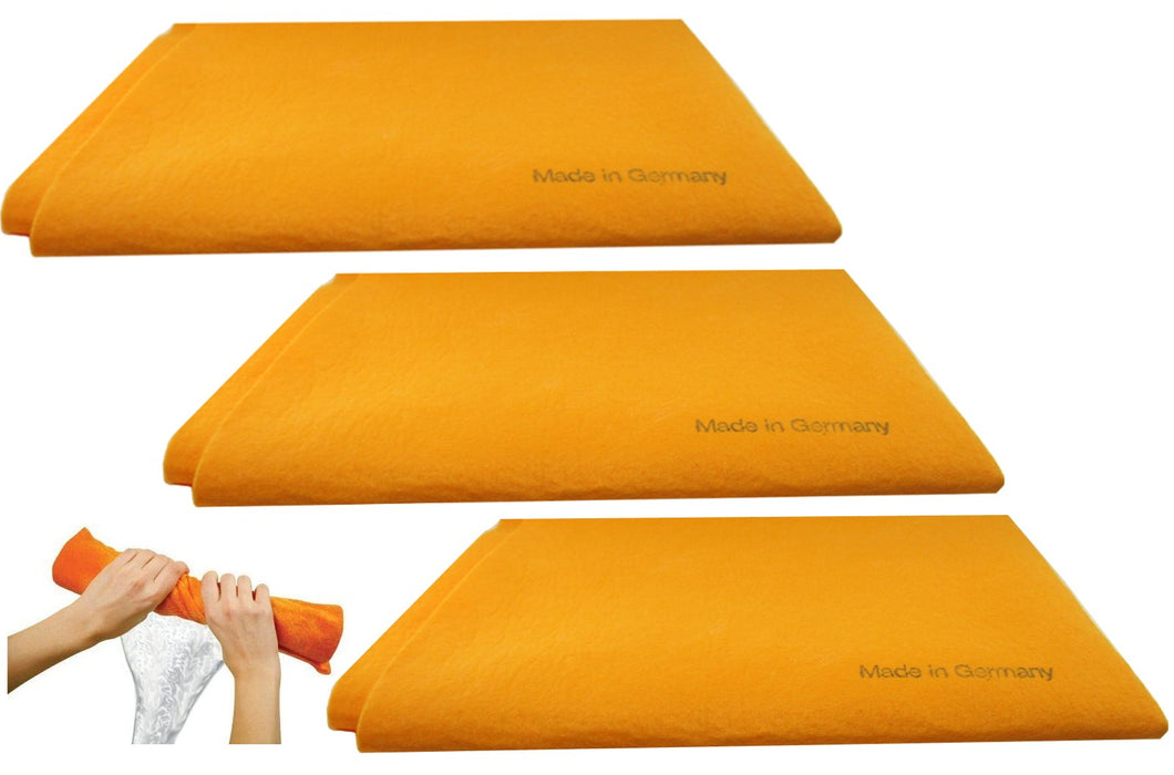 3pk Original German Shammy Towels Super Absorbent Chamois Cloths Large Size 20x27 Inch For Home Kitchen Bathroom Car Pet Stains (Orange) Orange