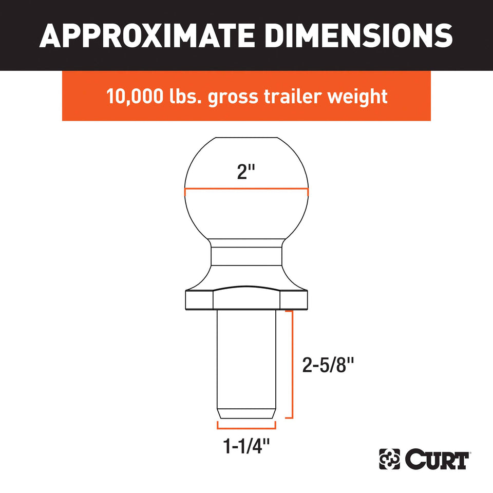 CURT 40090 Chrome Trailer Hitch Ball, 10,000 lbs, 2-Inch Diameter, 1-1/4 x 2-5/8-Inch Shank