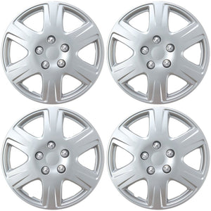 "BDK HK993 Silver 15"" Hubcaps Wheel Covers for Toyota Corolla (15 inch) – Four (4) Pieces Corrosion-Free & Sturdy – Full Heat & Impact Resistant Grade – OEM Replacement, 4 Pack"