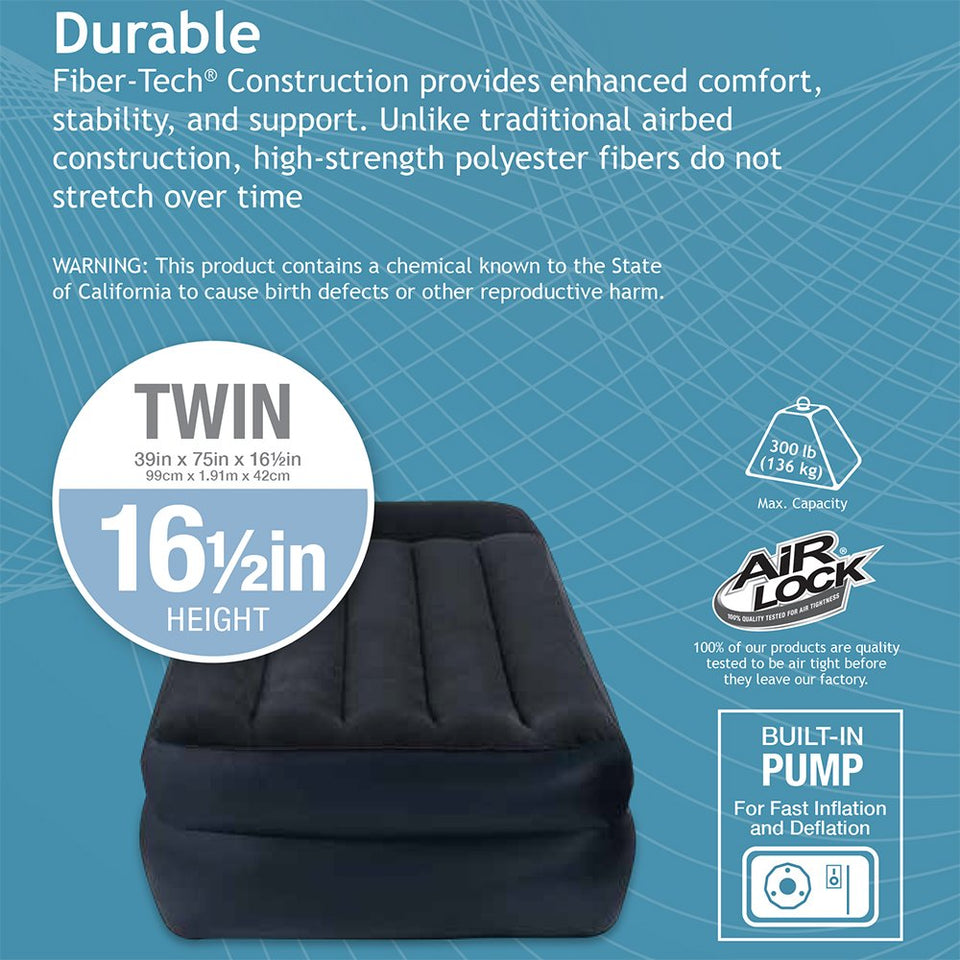 Intex Dura-Beam Standard Series Pillow Rest Raised Airbed w/Built-in Pillow & Electric Pump Twin