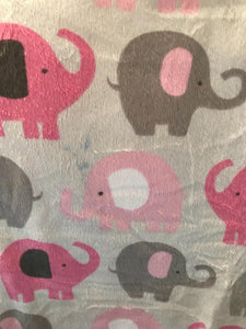 Baby Girl Soft Pink and Gray Elephant Blanket