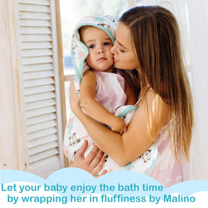 Malino Organic Bamboo Muslin Premium Baby Hooded Bath Towel Double Sided | Highly Absorbent Breathable and Hypoallergenic | Perfect Baby Shower Set | 35x35-Inch for Newborns Infants Toddlers, Unisex Cute Panda Print (With Ears)