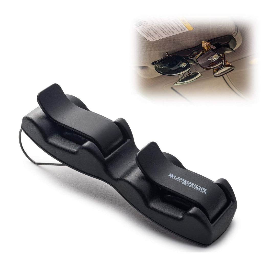 Superior Essentials Double Sunglasses-Glasses Holder for Sun Visor/Air Vent - Conveniently Holds 2 Pairs of Sunglasses 1pc