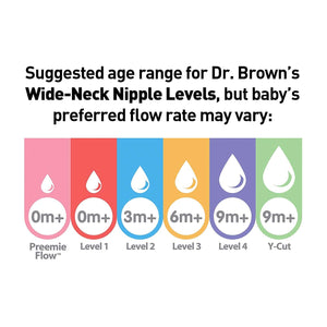 Dr. Brown's Options+ Wide-Neck Baby Bottle Nipple, Level 2 (3 Months+), 6 Count Level 2 (3m+)