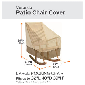 Classic Accessories 55-624-011501-00  Veranda Water-Resistant 32 Inch Rocking Chair Cover,Pebble,Large Rocking Chair Large Rocking Chair