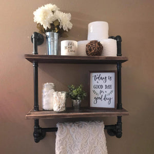 "Industrial Pipe Shelf,Rustic Wall Shelf with Towel Bar,24"" Towel Racks for Bathroom,2 Tiered Pipe Shelves Wood Shelf Shelving 2-layer"
