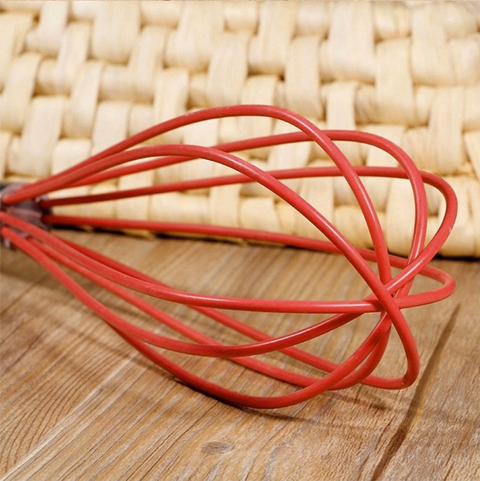 Ouddy 2 Pack Silicone Whisk Set Wire Kitchen Wisks for Cooking, Blending, Beating, Stirring, One Size, Red
