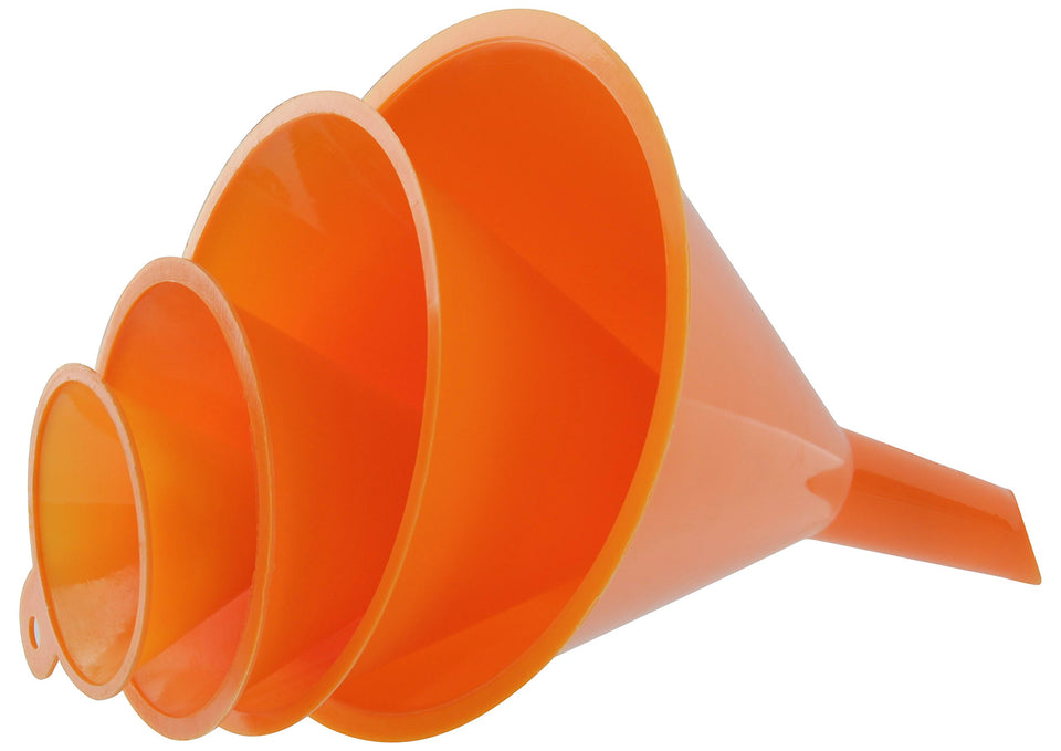 RAM-PRO 4-Piece All Purpose Wide-Mouth Bright Orange Plastic Funnel Set for Quick and Clean Transferring Liquids, Dry Goods, Between Pitchers, Bottles, Cans and Containers