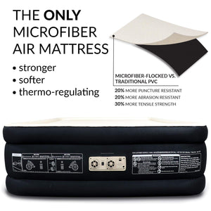 Englander First Ever Microfiber Queen Air Mattress, Luxury Microfiber airbed with Built in Pump, Highest End Blow Up Bed, Inflatable Air Mattresses for Guests Home Travel 5-Year Warranty (Black) Black / Cream Top