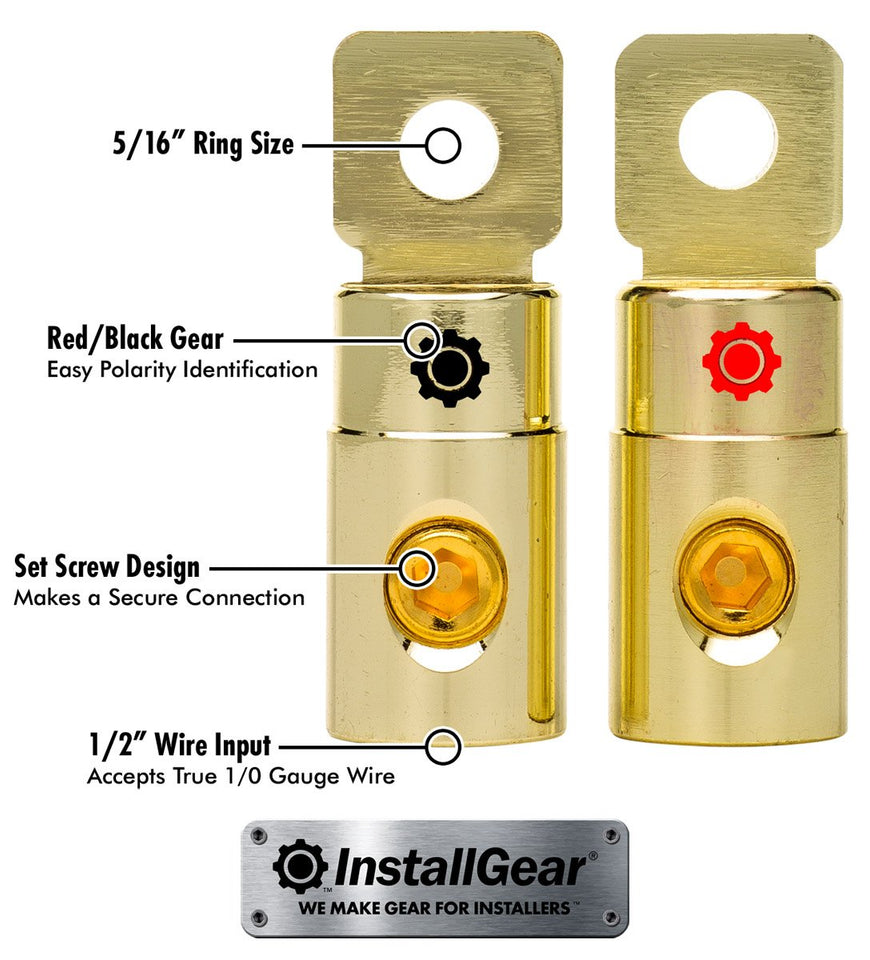 InstallGear 1/0 AWG Gauge Gold Ring Set Screw Battery Ring Terminals (4 Pack) 1/0 Gauge