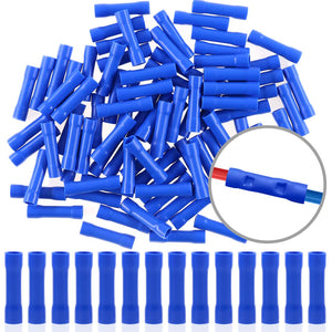 Hilitchi 100pcs 16-14 Gauge Butt Insulated Splice Terminals Electrical Wire Crimp Connectors (Blue / 16-14AWG) Blue / 16-14AWG