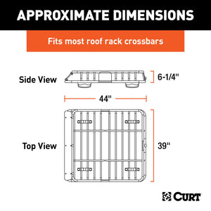CURT 18115 Universal 42 x 37-Inch Black Steel Roof Rack Rooftop Cargo Carrier