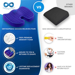 Everlasting Comfort Seat Cushion for Office Chair - Tailbone Pain Relief Cushion - Coccyx Cushion - Sciatica Pillow for Sitting (Blue) Blue