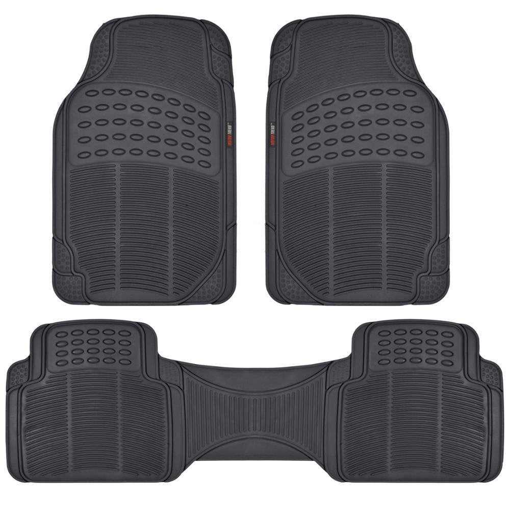 Motor Trend FlexTough Rubber Floor Mats for Car & SUV - 100% Odorless & All Weather Heavy Duty (Black) Black