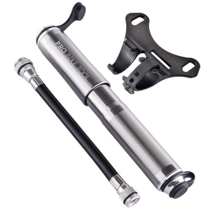 PRO BIKE TOOL Mini Bike Pump - Fits Presta and Schrader - High Pressure PSI - Reliable, Compact and Light - Best Quality & Performance - Bicycle Tire Pump for Road and Mountain Bikes Titanium