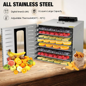 8 Tray Commercial Food Dehydrator Machine Stainless Steel 1000w Digital Adjustable Timer and Temperature Control Dryer for Jerky, Herb, Meat, Beef, Fruit and To Dry Vegetables Ez Store USA