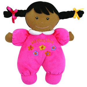 Stephan Baby Ultra Soft Plush My First Doll with Dark Complexion and Black Hair, Hot Pink Dark Complexion/Black Hair