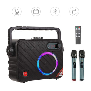 VeGue Portable Bluetooth Karaoke Machine for Adults and Kids, Wireless Karaoke Speaker with 2 Wireless Mics, LED Lights, Remote, Ideal for Party, Class,Church, Outdoor, 140 W