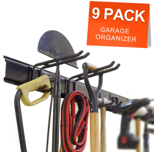 Ultrawall Garage Wall Organizer,9PC Garage Tool Hooks,Garden Tool Storage Rack 9-Pcs