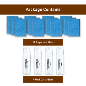 Thermacell Earth Scent Mosquito Repellent Refills, 48-Hour Pack; Dirt-Scent Used to Mask Human Odor, Not for Patio Use; Contains 12 Dirt-Scented Repellent Mats and 4 Fuel Cartridges; 48 Hours Total 48 Hour Pack