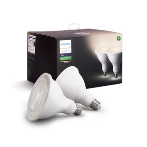 Philips Hue White Outdoor PAR38 13W Smart Bulbs (Philips Hue Hub required), 2 White PAR38 LED Smart Bulbs, Works with Alexa, Apple HomeKit and Google Assistant 2 Bulbs