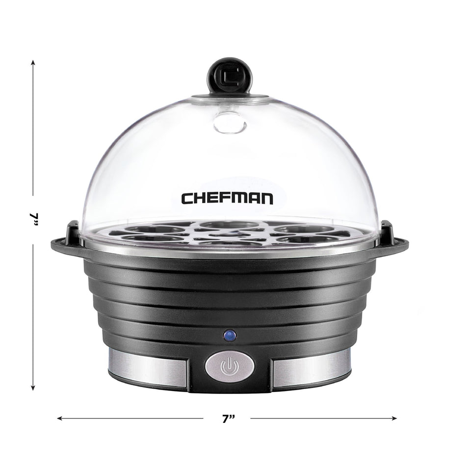 Chefman Electric Egg Cooker Boiler, Rapid Poacher, Food & Vegetable Hard, Medium or Soft Boiled, Poaching/Omelet Tray Included, Ready Signal, BPA Free, Black