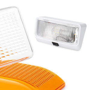 Lumitronics RV 12V Exterior Porch Light with On/Off Switch - Removable Clear & Amber Lenses (White) With Switch White Base