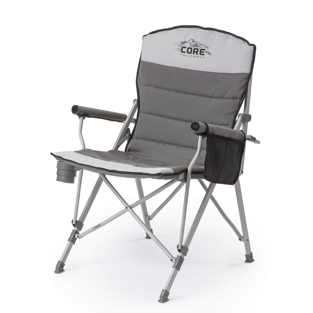 CORE Equipment Folding Padded Hard Arm Chair Gray