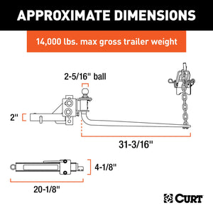 CURT 17063 MV Round Bar Weight Distribution Hitch with Sway Control, Up to 14K, 2-In Shank, 2-5/16-Inch Ball Ez Store USA
