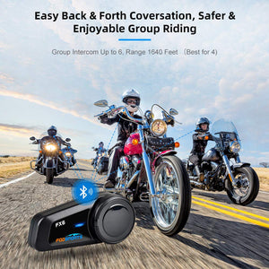 Motorcycle Bluetooth Headset Fodsports FX6 6 Riders Group Intercom Helmet Bluetooth Headset 1000M 5.0 Bluetooth Motorcycle Communication System, Voice Dial Hands-Free, FM, Hard & Soft Mic 1 Pack Ez Store USA