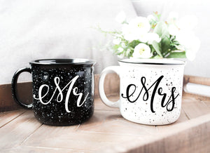 Mr and Mrs Couples Camping Ceramic Coffee Mug Set 15oz - Unique Wedding Gift For Bride and Groom - His and Hers Anniversary Present Husband and Wife - Engagement Gifts For Him and Her