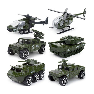 JQGT Diecast Military Vehicles Army Toy 6 in 1 Assorted Metal Model Cars Tank Attack Helicopter Panzer Playset for Kids Toddlers