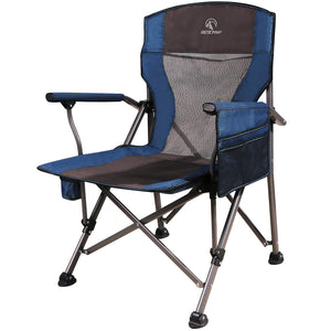 REDCAMP Camping Chairs for Adults Heavy Duty, Sturdy Steel Folding Lawn Chair with Padded Hard Arms and Cup Holder, Comfortable Portable for Outdoor Travel Hunting Fishing Sports, Blue and Comouflage Blue Mesh Back