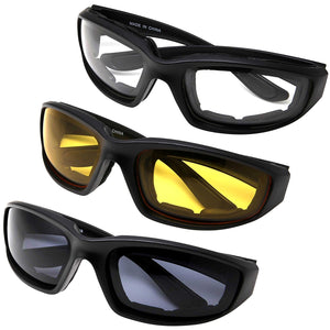 All Weather Protective Shatterproof Polycarbonate Motorcycle Riding Goggle Glasses 3 Pack Set Pouches NOT included (Assortment Pack) Assortment Pack