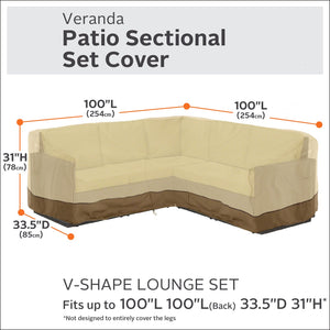 Classic Accessories Veranda Water-Resistant 100 Inch Patio V-Shaped Sectional Lounge Set Cover Large