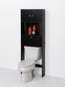 Zenna Home Drop Door Over The Toilet Bathroom Spacesaver, Bath Storage Shelves, Espresso