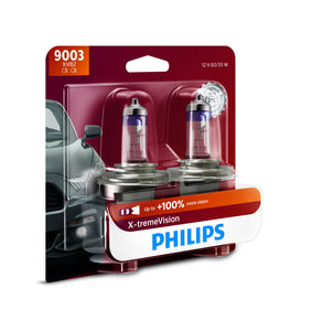 Philips 9003 X-tremeVision Upgrade Headlight Bulb with up to 100% More Vision, 2 Pack XtremeVision: up to 100% More Vision