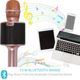 Bluetooth Karaoke Microphone, Portable Handheld Wireless Mic Karaoke Machine with Multiple Color LED Lights for Kids Christmas Party Home Rose Gold