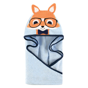 Hudson Baby Unisex Baby Cotton Animal Face Hooded Towel, Nerdy Fox, One Size