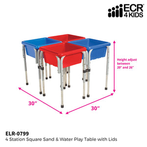 ECR4Kids Assorted Colors Sand and Water Adjustable Activity Play Table Center with Lids, Square (4-Station) 4-Station