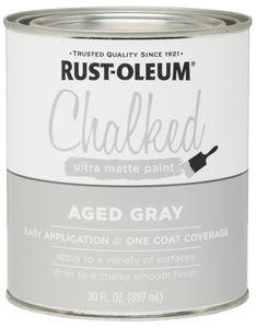 Rust-Oleum 285143 Ultra Matte Interior Chalked Paint 30 oz, Aged Gray