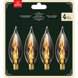 Globe Electric 1327 25W Vintage Edison CA10 Flame Tip Incandescent Filament Light Bulb, 4 Pack, E12 Base, 01327, 4 Count 25W Antique CA10