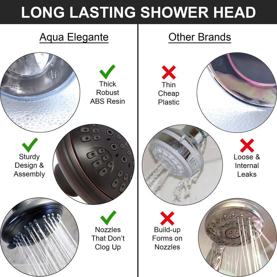6 Function Adjustable Luxury Shower Head - High Pressure Boosting, Wall Mount, Bathroom Showerhead For Low Flow Showers, 2.5 GPM - Oil-Rubbed Bronze