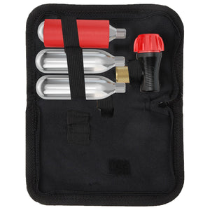 Co2 Inflator Kit With 3 Co2 Cartridges and Carrying Case, Quick & Easy, Bicycle Tire Pump for Road and Mountain Bikes, Fits Presta & Schrader Valves, Insulated Sleeve.