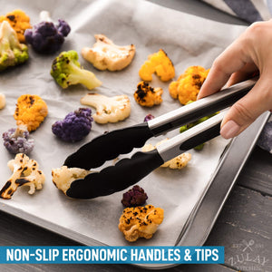 "Zulay Premium Set of Stainless Steel Tongs for Cooking, Grilling and Barbecue - 12"" Heavy Duty Silicone Tongs with Heat Resistant, Nonstick, Silicone Heads, Best for Non-Scratch Cookware"