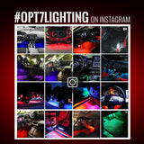 OPT7 Aura Interior Car Lights LED Strip Kit-16+ Smart-Color, Soundsync, Door Assist, Show Patterns, and Remote-Accent Underdash Footwell Floor, 4pc Single Row